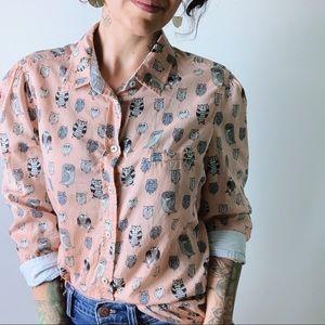 {anthro} HD in PARIS Owl Print Button Up Shirt